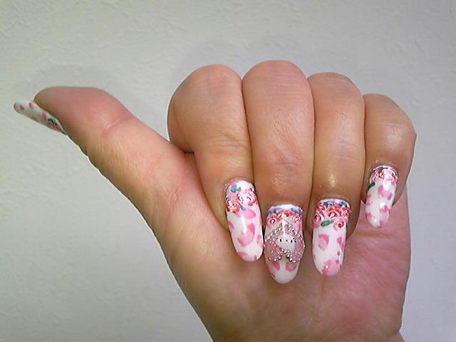 ピンク豹柄バラネイル!