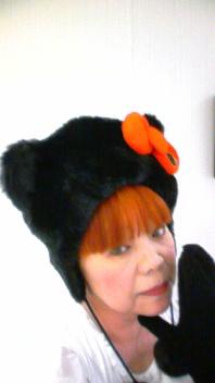 ネコ耳黒ボア帽子!