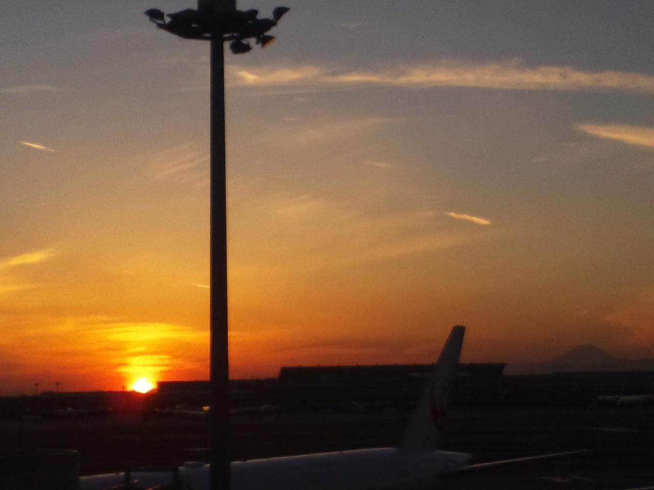 夕日と富士山!